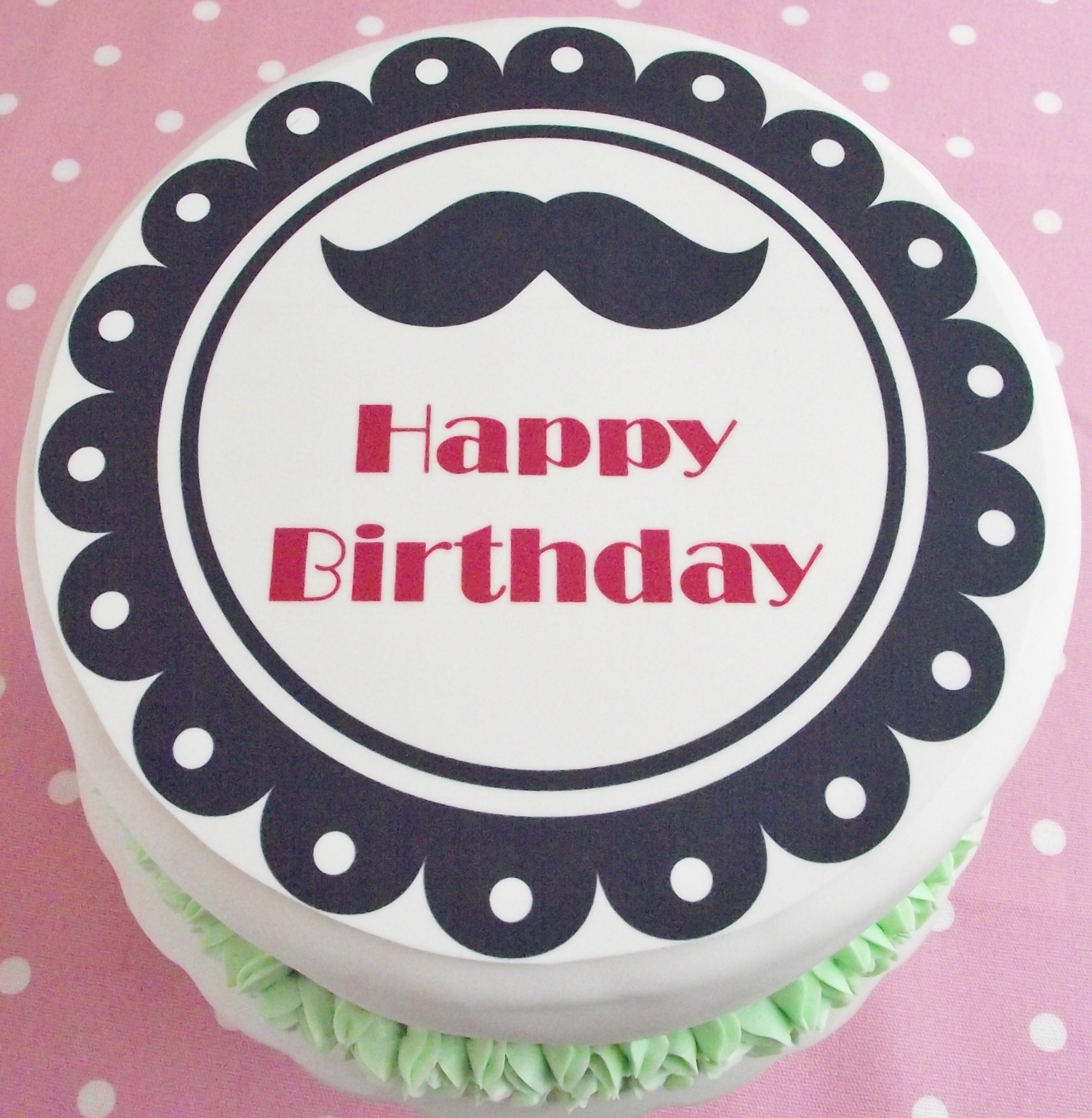 Cake Toppers Birthday Adult Birthdays Vintage Scallop Retro Moustache Happy Topper 75 Round
