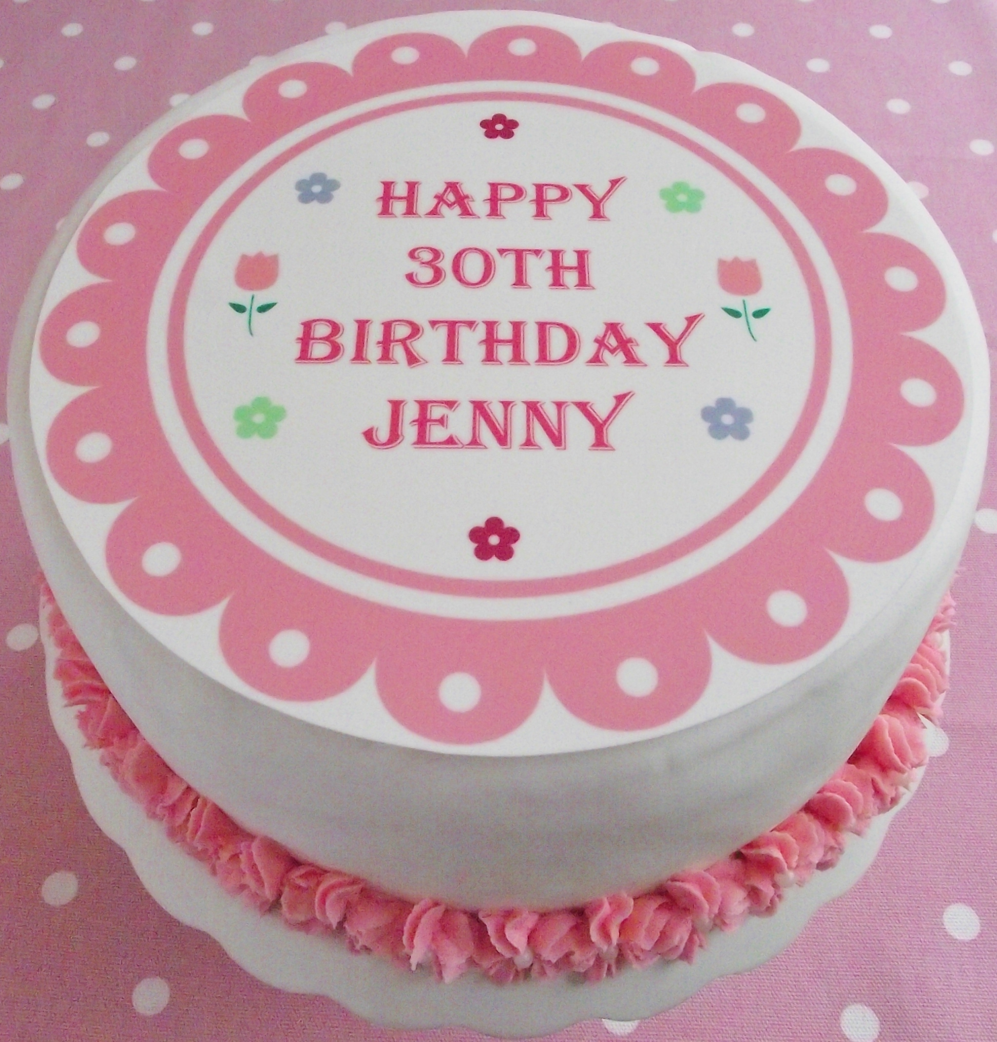 Cake Toppers Birthday Adult Birthdays Vintage Scallop Personalised Scalloped Topper 75 Round