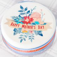 "Mother's Day Floral Cake Topper 7.5"" Round"