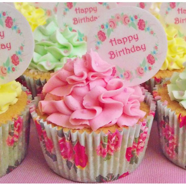 Cake Toppers Birthday Adult Birthdays For Her Vintage Garland Happy Cupcake